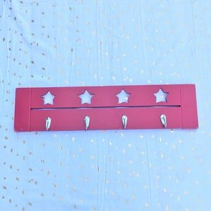 Stars and Hooks Wall Hanger - Red